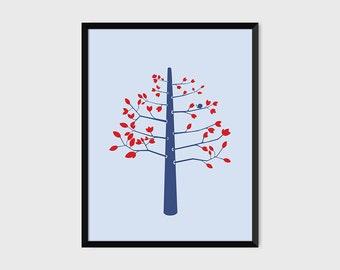 Bird in a Tree Print Pop Art Illustration Poster [grey]