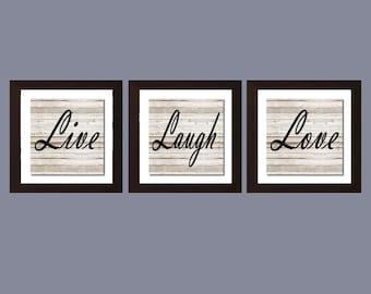 Shabby Chic Wall Art, Live Laugh Love Print, Rustic Decor, Housewarming Gift, Home Decor, Living Room Wall Art, Live Laugh Love Decor,