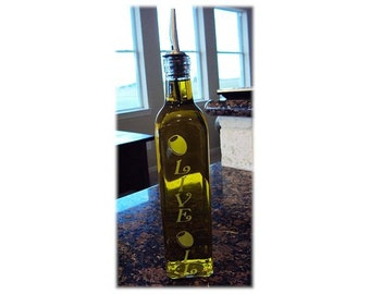 Etched Olive Oil  Bottle Reusable Glass For The Home Mouthwash, Simple Syrup, Chef, Kitchen By Jackglass.etsy.com