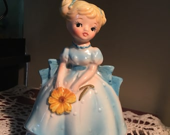 Vintage Bonnie Blonde Blue Gown Planter