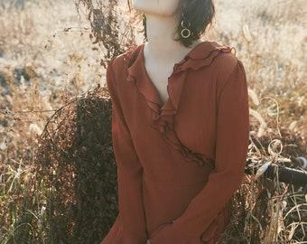 Orange Silk Ruffle Dress, wrap dress