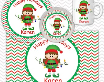 Christmas Elf Girl Plate, Bowl Mug  Set - Personalized Elf Plate Set - Customized Plate, Bowl, Mug - Melamine Plate, Bowl & Set for Kids