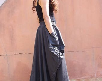 Long Skirt / Maxi Skirt / Long Boho Skirt / Full Length Skirt / Cotton Skirt / Modest Skirt / Plus Size Skirt / Color Charcaol Gray