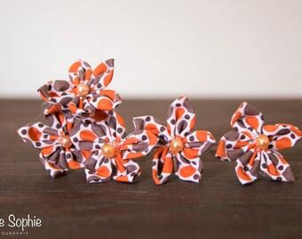 Orange fabric flower hairpins