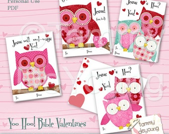 Owl Valentines Cards for kids * Scripture Valentines *DIY printable Valentines* Valentines for girls* Classmate cards, personalization extra