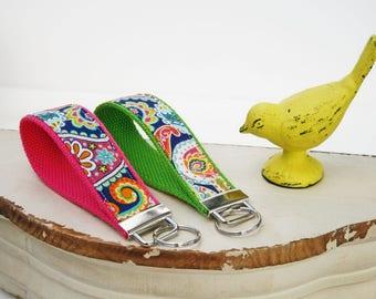 Party Paisley KeyFob, Classic Paisley Key Chain, Wristlet Key Fob, Wristlet Key Ring, Beach Keyring, Pink Paisley keychain, Teacher Gift