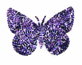 Purple and Green Butterfly Sequin Patch Large Sequin Butterfly Patches Applique 384