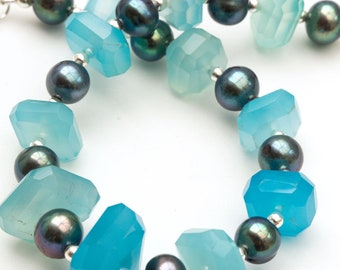 Blue Chalcedony & Cultured Pearl Beaded Necklace. 925 Sterling Silver. Aqua Chalcedony Natural Gemstones. Big Bold Chunky Statement Necklace