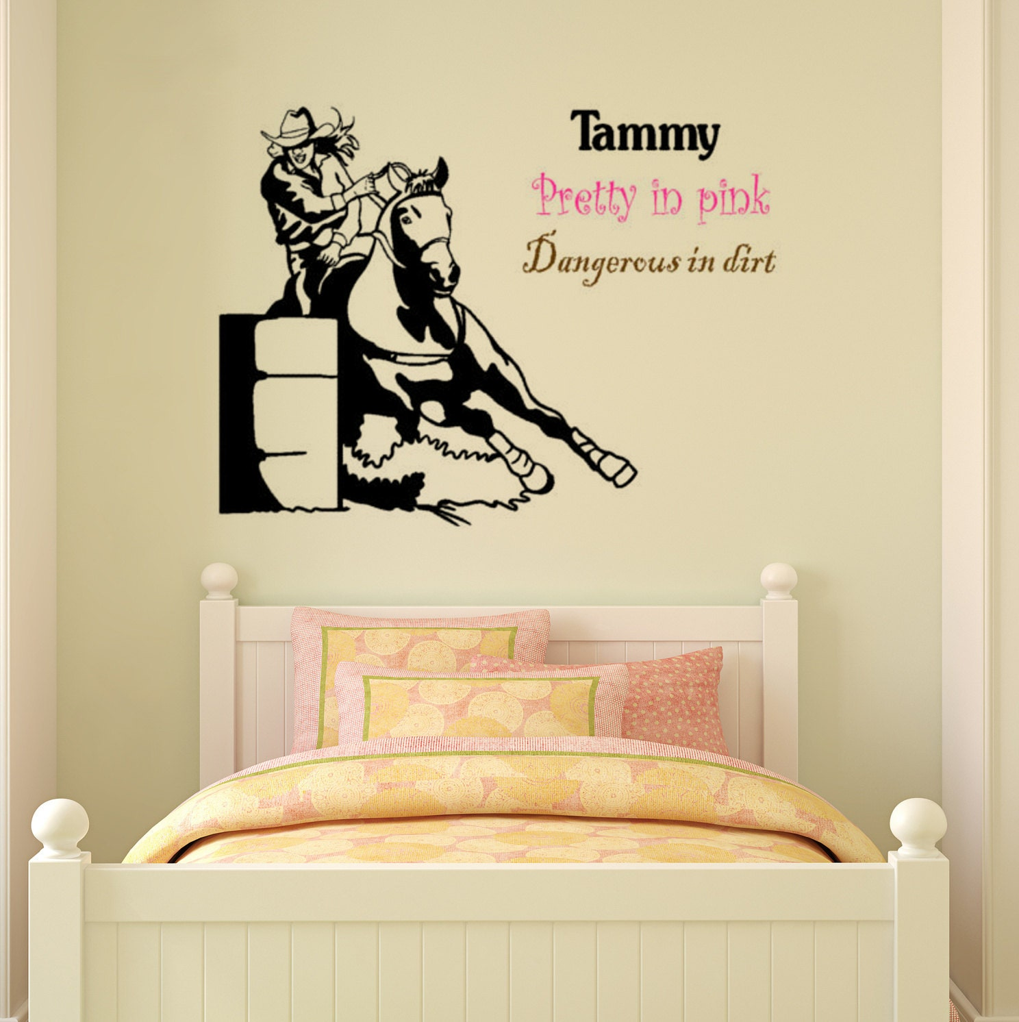 Zoom Horse Decal Barrel Racer Wall Sticker Girls Bedroom Name