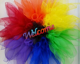 Welcome Rainbow Pride Flower Wreath Home office Decor Flower wreath Love Pride Gay Pride Rainbow flower 33in wreath