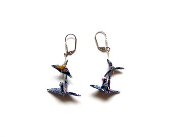 Origami Earrings Birds Dark Blue