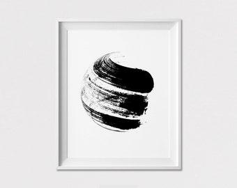 Minimal print, Poster, Black and white, Scandinavian, Minimalist poster, Wall Art, Abstract print brushes, Home Decor, Gift, ArtFilesVicky