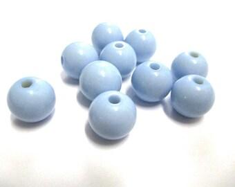 10 blue clear 12mm acrylic beads