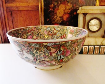 Vintage Chinoiserie Bowl, Rose Canton Bowl, Oriental Decor, Centerpiece Bowl, Hollywood Regency, Chinese Rose Medallion