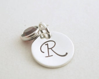 Custom Initial Charm Pendant Birthstone Hand Stamped Sterling Silver