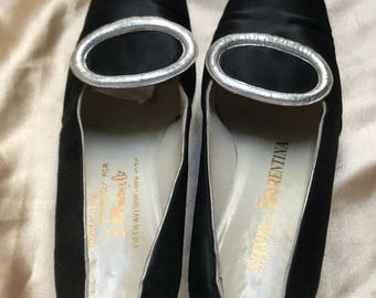 Vintage SILVIA OF FIORENTINA, Women's Black Silk Pumps, Made in Italy, Size 7A