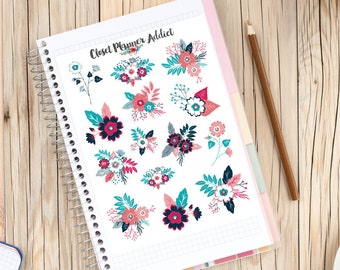 Navy Pink Flowers Planner Stickers   Floral Stickers   Cute Flowers Stickers   Pink Flower Stickers   Blue Flower Stickers (S-209)