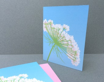 Queen Annes Lace Stationery Set, Mothers Day Pink Blue White Flower Spring Nature Stationary Set Card Woodland Illustration