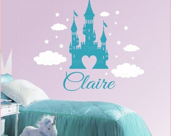 Princess Castle with Personalized Girl's Name & Stars Wall Decal Set NK-124