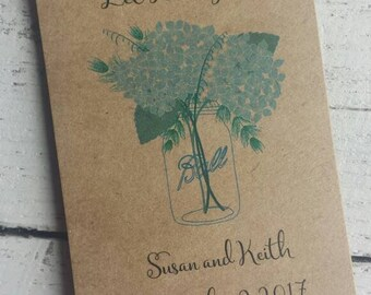 Rustic Hydrangeas in Mason Jar Design w/ wildflower Kraft Seed Packet Favor Shabby Chic Cute Favors for Bridal Shower,  Wedding or Birthday