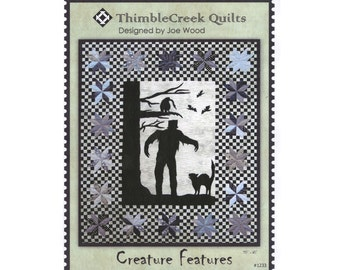 Halloween Quilt Pattern, Creature Features #1233 ThimbleCreek Quilts, Joe Wood, Monster Quilt Pattern, Frankenstein, Black Cat