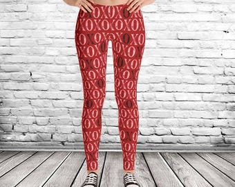 XOXO Valentine Leggings, womens leggings, red pink leggings, teen valentine leggings, kisses leggings, valentines clothing