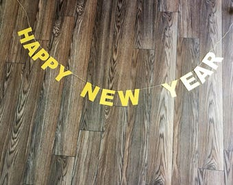 Happy New Year Gold Glitter Banner, New Years Party Banner, New Years Party Decor, Happy New Years, Gold Glitter Banner