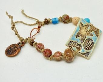 Handmade Ceramic Starfish Bracelet, Starfish Jewelry, Ceramic Cuff Bracelet, BoHo Jewelry, Ocean Jewelry, Bohemian Beach Jewelry, Gift