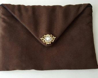 Faux Suede Clutch, Brown Envelope Clutch, Envelope Clutch, Evening Bag, Brown Clutch, Faux Suede Bag, Vintage Pin Clutch, Faux Suede Purse