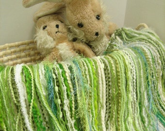 """Fringed Blanket 2' x 2' Fringe-Oodles """"Over"""" in Green and White Novelty Yarns for Baby Pictures and a Photography Prop"""