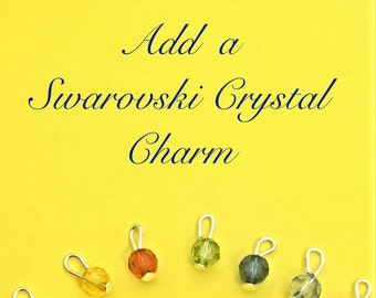 Add on Swarovski crystal charm, customized charms, crystal charm add ons, Birthday charms