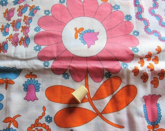 pink, orange and turquoise flower power print vintage cotton blend fabric -- 45 wide by 2 1/4 yards