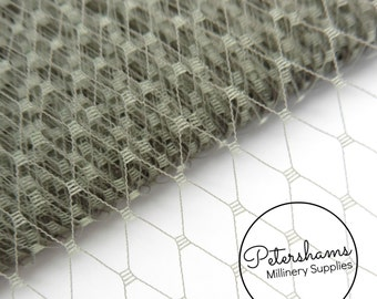 9 Inch (23cm) Russian / French Veiling for wedding blusher veils, fascinators and millinery 1m (1.09 yards) - Pewter Grey