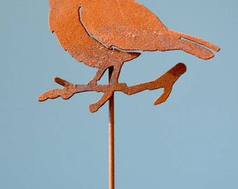Chickadee With Crown Stake   Garden Stake   Wild Bird Art   Chickadee Art    Planter