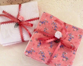 "charm pack - Pre-cut Flannel - 4"" - 90 squares - baby quilt kit - Pink, white, floral and checkered squares - baby shower"