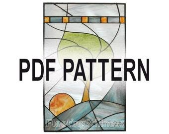 PDF Pattern for Stained Glass - Windy Sunrise FleetingStillness Original Design
