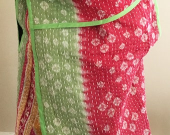 One-of-a-kind Kantha Reversible/Multiway Vest (Cherry Blossom)