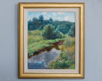 Rare Oil painting, landscape painting, framed oil, original painting, vintage painting, framed painting, oil on canvas, canvas painting,
