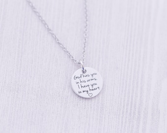 God Has You in His Arms Pendant - Hand Stamped Jewelry - Memorial Jewelry - Engraved Necklace - Engraved Jewelry