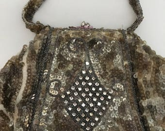 Satin with sequin vintage purse