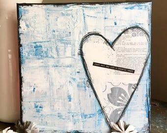 Start Each Day With A Grateful Heart 10x10 Mixed Media Original Canvas