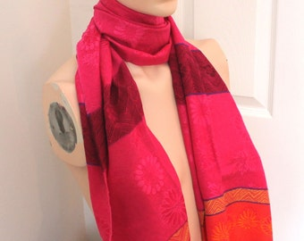 Vintage bright pink/orange scarf,bright pink/orange head scarf,bright pink/orange wrap scarf,pink/orange wrap scarf,costume party,women,teen