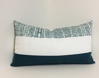 Teal pillow cover. Reversible Lumbar Colorblock pillow cover.  Robert Allen tribal inspired designer fabric teal blue. home decor accent