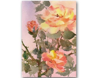 "An Original Watercolor by Linda Henry entitled: ""A Rose for Peace"" -  5""x 7"" - Ready to Frame with a free White Mat (Rose #23)"