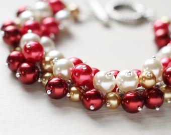 Bridesmaid Jewelry Pearl Cluster Bracelet - Strawberry Jam