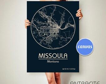 MISSOULA Montana CANVAS Map Missoula Montana Poster City Map Missoula Montana Art Print Missoula Montana