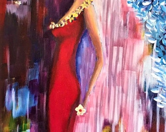 Original Acrylic Painting Lady in Red