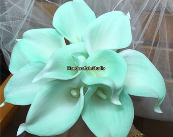 Mint Calla Lily Real Touch Calla Lilies Flower Bouquet 10 Stems For Bridal Bridesmaids Bouquets Wedding Centerpieces Boutonniere MTL-FLN029