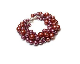 Rose pink Pearl Cluster Bracelet, Beaded Boho bracelet, Beaded jewelry, Wedding Bridesmaid gift, bridesmaid bracelet, Pearl Jewelry