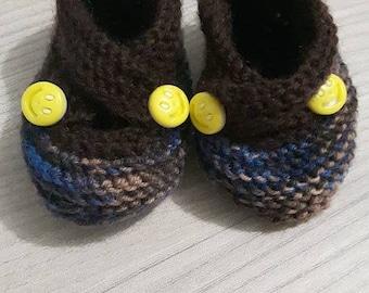 Handmade baby boy booties